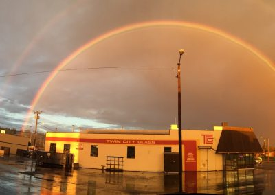 Twin City Glass Company Store Front with double rainbow